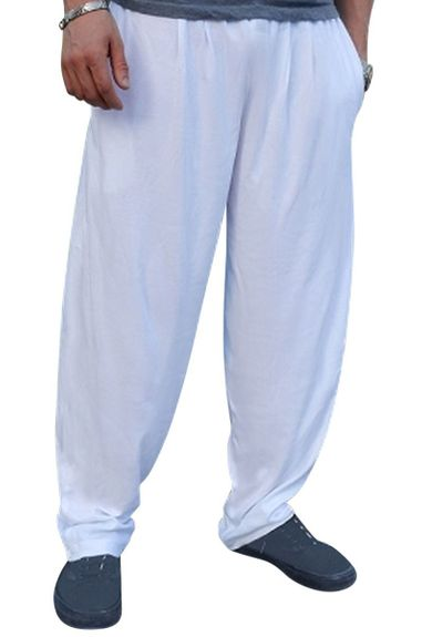 New- Crazee Wear Classic Relaxed Fit Baggy Pants- White