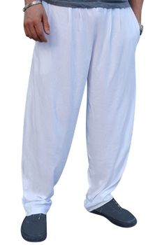 Crazee Wear Classic Relaxed Fit Baggy Pants- White