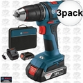 "Bosch DDB181-02-RT 18V Li-Ion 1/2"" Compact Tough 2-Batt Drill/Drive 3x"