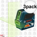 Bosch GLL 100 G Self-Leveling GREEN-BEAM Cross-Line Laser 3x
