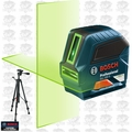 Bosch GLL100G Self-Leveling Green-Beam Cross-Line Laser w/Tripod Base