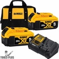DeWalt DCB205-2CK 20V MAX Battery Starter Kit, 2 5.0 Batteries, Charger, BAG