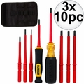DeWalt DWHT66417 10 Piece Vinyl Grip Insulated Screwdrivers 1,000 VDE 3x