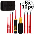 DeWalt DWHT66417 10 Piece Vinyl Grip Insulated Screwdrivers 1,000 VDE 6x