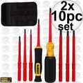 DeWalt DWHT66417 10pc Vinyl Grip Insulated Screwdrivers 1,000 VDE 2x