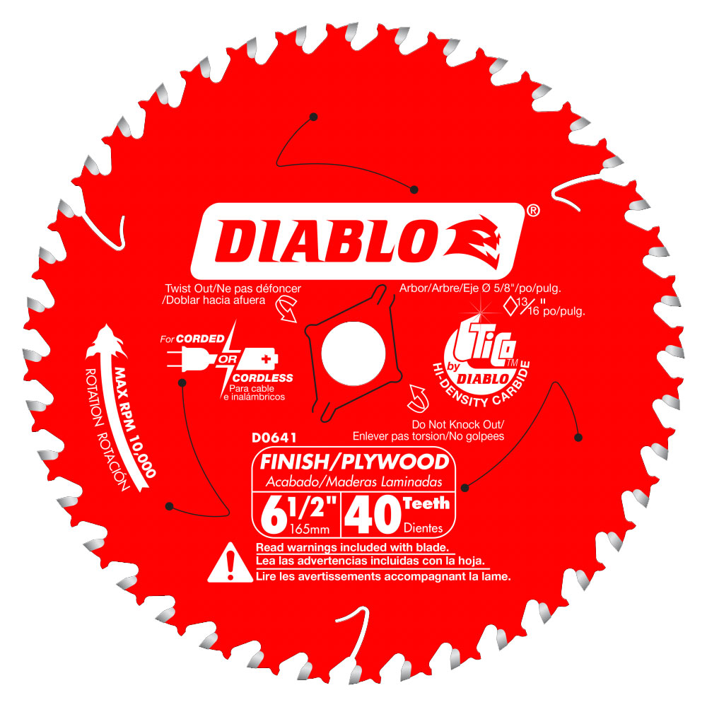 Diablo D0641A 6-1/2 in  x 40 Tooth Finish / Plywood Trim Saw Blade