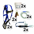 FallTech 8595A 5pc Contractor Complete Roofer's Kit 2x