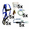 FallTech 8595A 5pc Contractor Complete Roofer's Kit 5x