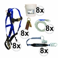 FallTech 8595A 5pc Contractor Complete Roofer's Kit 8x