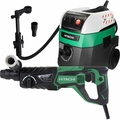 "Hitachi DH26PF 1"" SDS Plus D Handle Rotary Hammer w/HEPA Vac+Dust Collection"