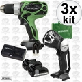 Hitachi DS18DSAL 18V HXP Li-Ion 2-Tool Combo Kit with 2 HXP Batteries 3x