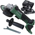 "Hitachi G18DBALP4 18V Brushless Li-Ion 4-1/2"" Angle Grinder w/2Batts+Charger"