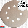"Makita 794521-9 5pk 5"" x 180 Grit 8 Hole Hook & Loop Abrasive Discs 4x"