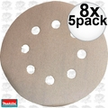 "Makita 794521-9 5pk 5"" x 180 Grit 8 Hole Hook & Loop Abrasive Discs 8x"