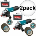"Makita 9557PB 4-1/2"" Angle Grinder + Case, Diamond Wheel, 4 Grind Wheels 2x"