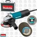 "Makita 9557PBX1 4-1/2"" Angle Grinder + Case, Diamond Wheel, 4 Grind Wheels"