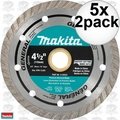 "Makita A-97617 2pk 4-1/2"" General Purpose Turbo Rim Diamond Blades 5x"