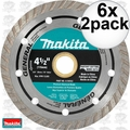 "Makita A-97617 2pk 4-1/2"" General Purpose Turbo Rim Diamond Blades 6x"
