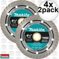 "Makita A-97617 2pk 4-1/2"" General Purpose Turbo Rim Diamond Blades 4x"