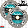 "Makita A-97617 2pk 4-1/2"" General Purpose Turbo Rim Diamond Blades 8x"