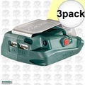 Metabo 600288000 Battery Adaptor w/ 2x USB ports+Built-In LED Flash Light 3x