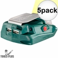 Metabo 600288000 Battery Adaptor w/ 2x USB ports + Built-In LED Light 5x