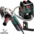 "Metabo WEV10-125 5"" 8.5 Amp VS Angle Grinder w/ Lock On Switch + HEPA Vac"