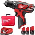 "Milwaukee 2407-22 12 Volt M12 3/8"" Drill/Driver Kit + 2.0Ah Li-Ion Batt"