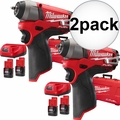 "Milwaukee 2452-22 2x M12 FUEL 1/4"" Impact Wrench Kit"