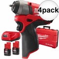 "Milwaukee 2452-22 4x M12 FUEL 1/4"" Impact Wrench Kit"