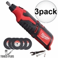 Milwaukee 2460-20 12 Volt M12 Cordless Rotary Tool (Tool + Discs Only) 3x
