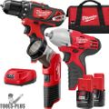 Milwaukee 2493-23 M12 Cordless Lithium-Ion 3-Tool Combo Kit