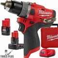 "Milwaukee 2504-22 M12 FUEL 1/2"" Hammer Drill w/ 2ah,4ah Batts+Charger"
