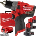 "Milwaukee 2504-22 M12 FUEL 1/2"" Hammer Drill w/ 3 Batts+Charger Kit"