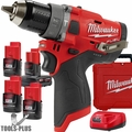 "Milwaukee 2504-22 M12 FUEL 1/2"" Hammer Drill Kit with 4 Batteries"