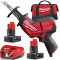 Milwaukee 2520-21XC M12 FUEL HACKZALL Recip Saw w/ 4.0, 6.0Ah Batts