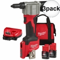 Milwaukee 2550-22 M12 Pop Rivet Tool 1.5AH Kit 3x  2 Battery Kit