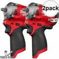 """Milwaukee 2554-20 M12 FUEL Stubby Cordless 3/8"""" Impact Wrench (Tool Only) 2x"""