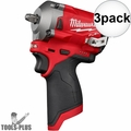 """Milwaukee 2554-20 M12 FUEL Stubby Cordless 3/8"""" Impact Wrench (Tool Only) 3x"""