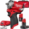 "Milwaukee 2554-22 M12 FUEL Stubby Cordless 3/8"" Impact Wrench w/2 Batteries"