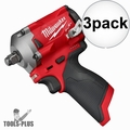 """Milwaukee 2555-20 M12 FUEL Stubby Cordless 1/2"""" Impact Wrench (Tool Only) 3x"""