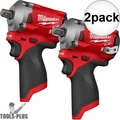 """Milwaukee 2555P-20 M12 FUEL Stubby 1/2"""" Pin Detent Impact (Tool Only) 2x"""