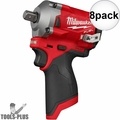 """Milwaukee 2555P-20 M12 FUEL Stubby 1/2"""" Pin Detent Impact (Tool Only) 8x"""