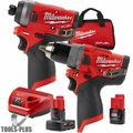 "Milwaukee 2596-22 M12 FUEL 1/2"" Drill Driver+1/4"" Hex Impact w/2ah,4ah Batts"