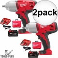 "Milwaukee 2662-21 M18 1/2"" High-Torque Impact Wrench with Pin Detent Kit 2x"