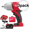 "Milwaukee 2662-21 M18 1/2"" High-Torque Impact Wrench with Pin Detent Kit 3x"