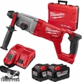 "Milwaukee 2713-22HD M18 Fuel 1"" SDS+ D-Handle Rotary Hammer 2x 9.0 Batts"