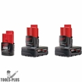 Milwaukee 48-11-2464 M12 3 ASSORTED 'XC' BATTERY'S Lithium-Ion 2, 4, & 6Ah