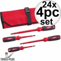 Milwaukee 48-22-2204 24x 4pc 1000V Insulated Screwdriver Set w/ Roll Pouch