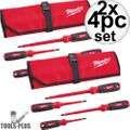 Milwaukee 48-22-2204 4pc 1000V Insulated Screwdriver Set w/ Roll Pouch 2x